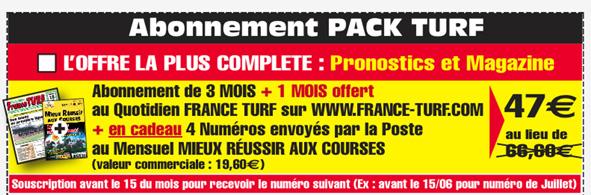 FRANCE TURF AU MEILLEUR PRIX AVEC L'ABONNEMENT 1 MOIS, 3 MOIS ET PLUS